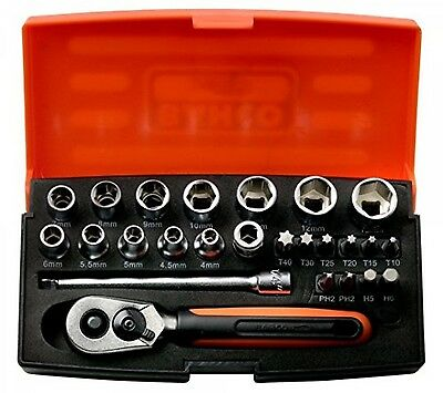 Bahco Socket Set 25 Piece Ratchet 1/4 Inch Drive Screwdriver Torx Case Tool Kit