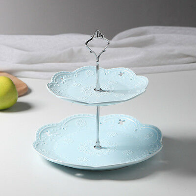 Luxury 2 Tier Embossed Ceramic Cake Stand Cupcake Food Stand Wedding Plate