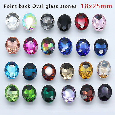 15p color Rhinestone 25x18mm pointed back Oval Faceted Glass crystal Fancy Stone