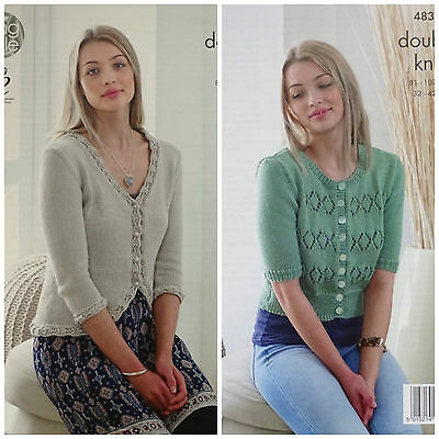 KNITTING PATTERN Ladies 3/4 &Short Sleeve Lace Cardigan Smooth DK 4833 King Cole
