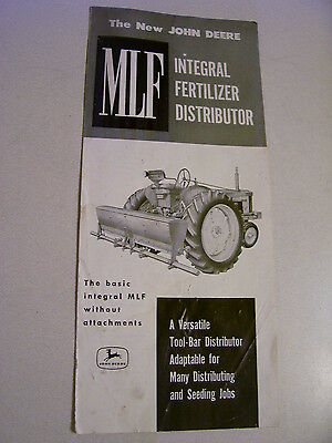 Vintage John Deere  Advertising  Brochure- Mlf Integral Fertilizer Distr- 1957