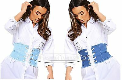 Womens Blue Denim Waistband Ribbon Corset Belt Lace Up Tie Up 8-16