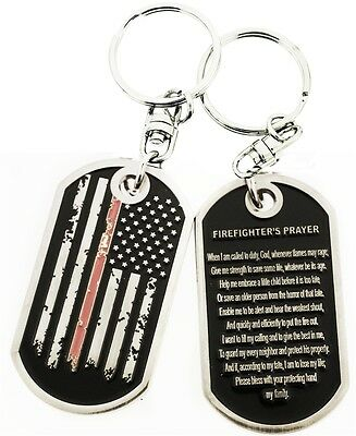 Thin Red Line Distressed American Flag Firefighter's Prayer Dog Tag Key Chain