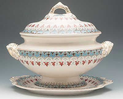 """Copeland Spode """"Denmark"""" 3 Piece Soup Tureen with Underplate"""
