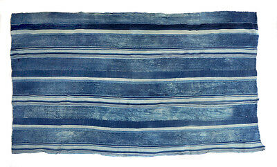 Vintage distressed stripe indigo Dogon cloth from Mali, West Africa E160
