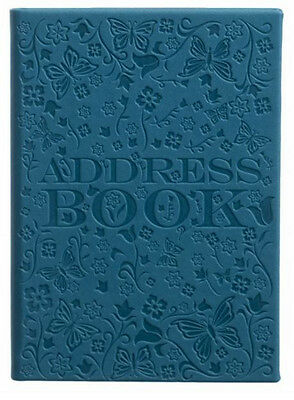 Teal PU Deboss Floral Pattern A6 Address Book 26 Tabbed Alphabetical Sections