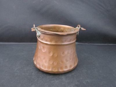 Vintage Antique Small Hand Hammered Copper Pot with Swing Handle Kitchenalia