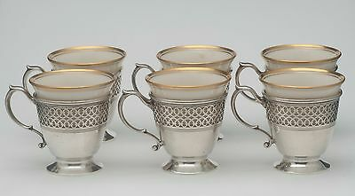 Tiffany & Co Sterling Silver 6 piece demitasse cups with Lenox Liners