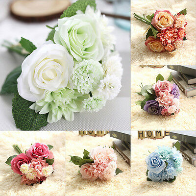 Beautiful Artificial Rose Flower Bouquet Silk Floral Wedding Home Decor 8 Head