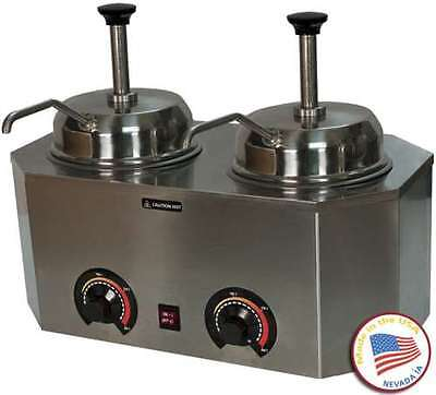 Commercial Dual Pump #10 Can Warmer Fudge Caramel Nacho Cheese Stainless Steel