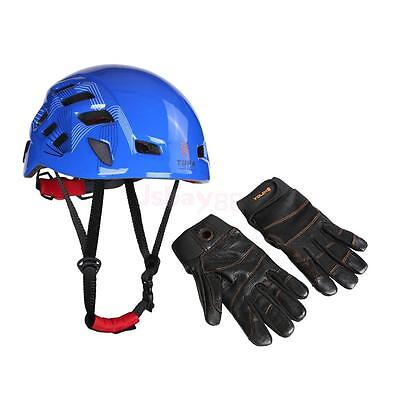 Mountaineering Safety Climbing Helmet + 1 Pair Leather Full Finger Gloves L
