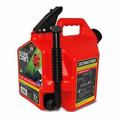 Sure Can Sure22G1 2.2 Gallon Red Plastic Gasoline Can Rotation Nozzle