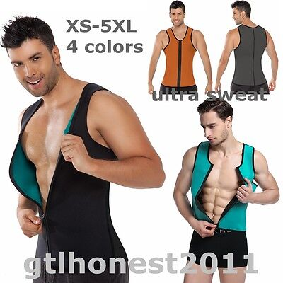 Men Neoprene Vest Waist Trainner BodyShaper Sauna Sweat Suit Slimming WeightLoss