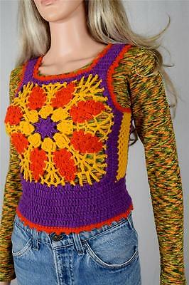 Vtg 1970's Charlie's Girls HiPPiE BoHo Crocheted Woodstock FLoWeR Sweater Vest S
