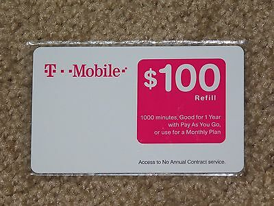 T-MOBILE $100 Refill. Free Shipping! Refill Card. Prepaid