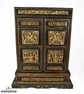 Antique Chinese Carved Gilt Lacquered Ancestor Shrine / Cabinet