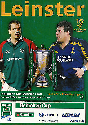 Leinster v Leicester Tigers - European Cup quarter final 2 Apr 2005 RUGBY PROG