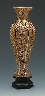 Chinese Sterling Silver Handmade Filigree Decorative Vermeil Vase