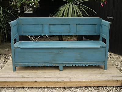 Old & Genuine Antique Pine & Blue Painted Hungarian Box Bench/settle/pew/storage