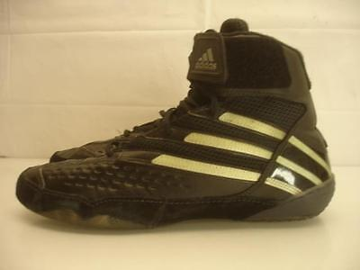 Mens sz 8 M 41 1/3 Adidas Attack Flying Impact Wrestling Shoes Black Gold Suede