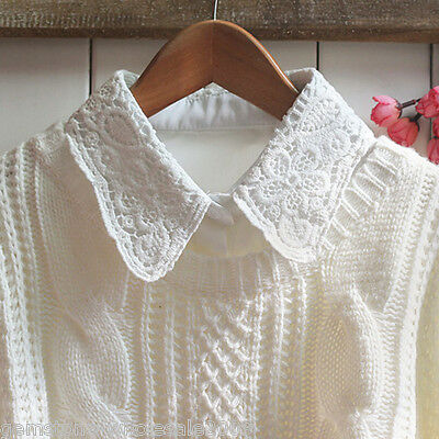 New Women White Retro False Collar Detachable Lace Blouse Shirt Fake Collar GW
