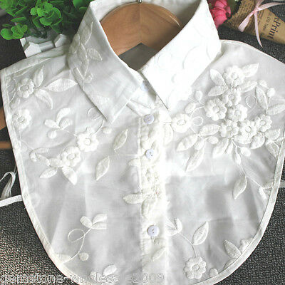 Women White False Collar Detachable Shirt Lace Two Layer Fake Stand Collar GW
