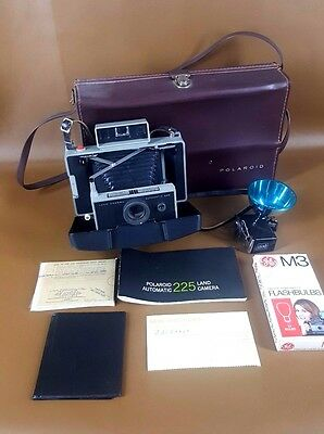 Vintage Polaroid Land Camera Automatic 225 w/Case and Extras