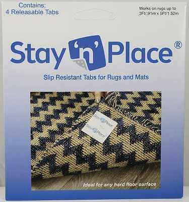 Stay N Place Skid-Resistant Non Slip Tab Releasable Rug Grip Mat Tape MADE USA