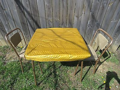 Vintage 3Pc Cosco Metal Mid Century Folding Card Table 2 Chairs W/padded Cover