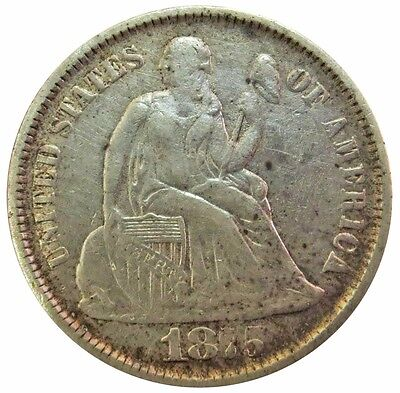 1875 Cc Carson City Silver Seated Liberty Dime Coin Extremely Fine Condition