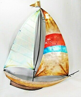 Sail Boat Capiz  Finish Wall Plaque Nautical Hand Painted Metal Home Decor