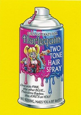 #4 HARLEQUIN HAIR SPRAY 2017 Wacky Packages 50th Anniversary HARLEY QUINN YELLOW