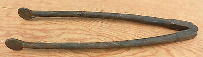 "Antique 19th C. Wrought Iron Uncommon Short 13"" Fireplace Ember Tongs Tool"