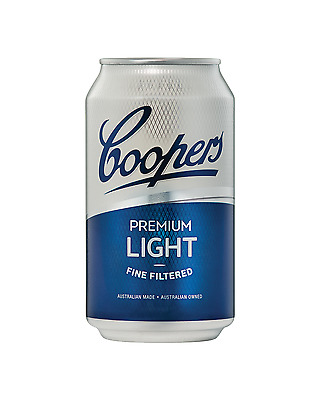 Coopers Premium Light Lager Cans 355mL case of 24 Light Beer