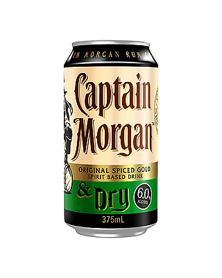 Captain Morgan Original Spiced Gold & Dry Cans 375mL case of 24 Spiced Rum