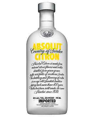Absolut Citron Vodka 700mL case of 6