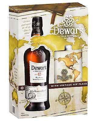 Dewar's The Ancestor 12 Year Old Scotch Whisky Gift Pack with Hip Flask 700mL