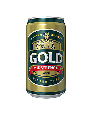 Gold Beer Cans 30 Block 375mL case of 30 Mid Strength Beer Lager