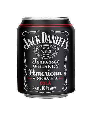 Jack Daniel's American Serve & Cola Cans 250mL case of 24 American Whiskey
