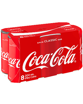 Coca Cola Mini Cans 200mL - 8 pack pack of 8 Soft Drinks 8 x 200mL