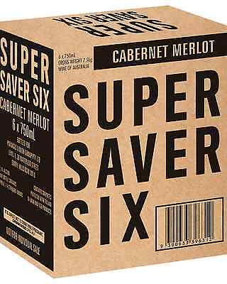 Super Saver Six Cabernet Merlot case of 6 Dry Red Wine 750mL
