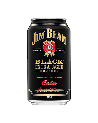 Jim Beam Black Label & Cola Cans 375mL case of 24 American Whiskey Bourbon