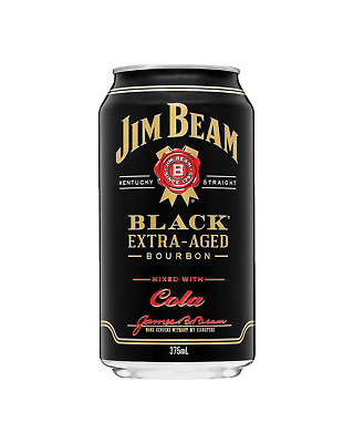 Jim Beam Black Label & Cola Cans 10 Pack 375mL case of 30 American Whiskey