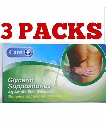 Care Glycerin Suppositories 4g 12s x 3 Packs
