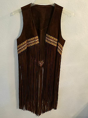 True Vintage 1960's Genuine Leather/suede Womens Fringe vest w/stiched detail