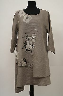 caf58245ad5 LRK by KEROSZYN MADE IN ITALY LINEN 3 4 PULLOVER TUNIC SHIRT NATURAL FLORAL  TG