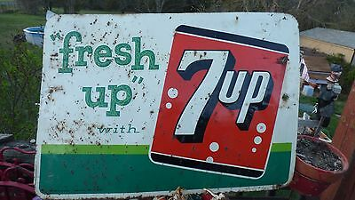 """Vintage 1961 """"Fresh Up"""" with 7UP 28x20"""" Stout Metal Advertising Sign, Soda, Cola"""