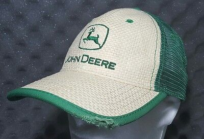 John Deere Woven Straw Mesh Hat Cap Adjustable Green Tractor Trucker Distressed
