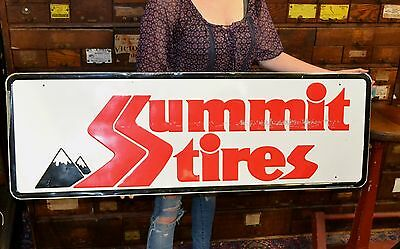 Original Summit Tires Sign Embossed Metal Service Station Gas Oil Tire