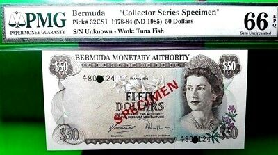 Money Bermuda $50 Dollars 1978 - 84 Specimen Gem Unc Pick # 32Cs1